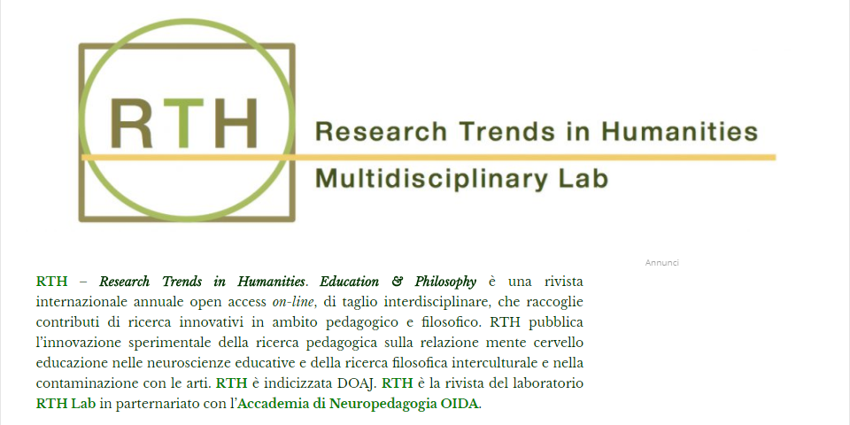 "Call for papers e nuovo numero ""RTH. Research Trends in Humanities. Education & Philosophy"""