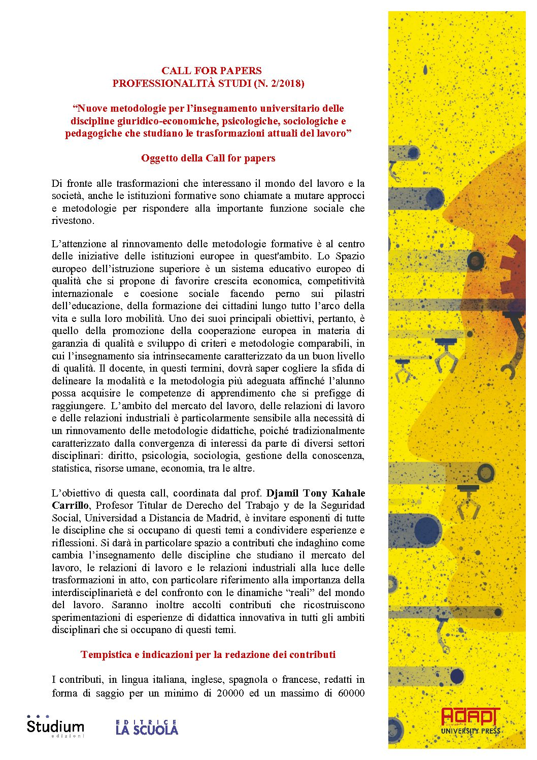 "Call for paper rivista ""Professionalità studi"" – 30 marzo"
