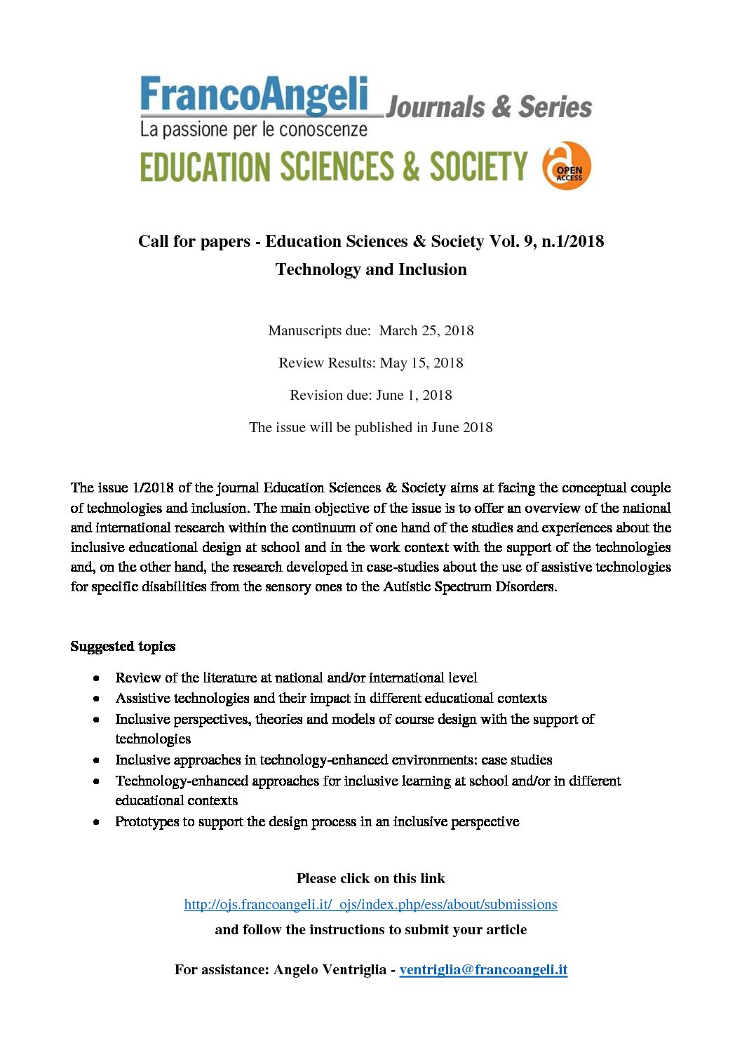 "Call for Papers della rivista ""Education Sciences & Society"" – 25 marzo"