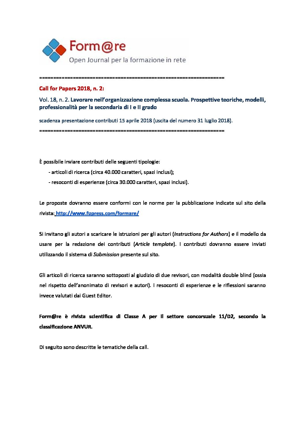 "Call for Papers della rivista ""Form@re"" – 15 aprile"