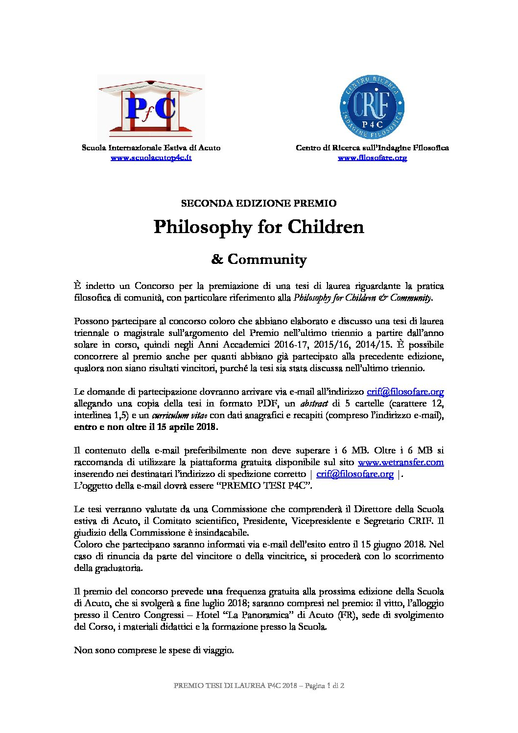 "Premio Crif per tesi in ""Philosophy for Children"" – 15 aprile"