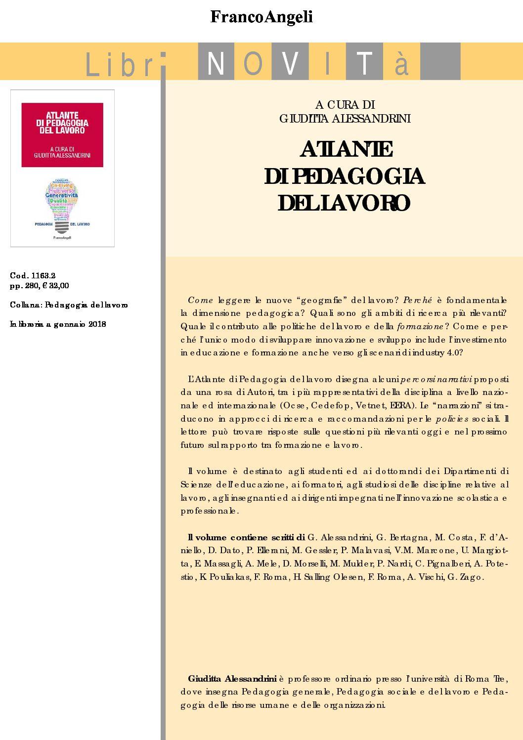 """Pubblicazione del volume """"Atlante di Pedagogia del Lavoro"""""""