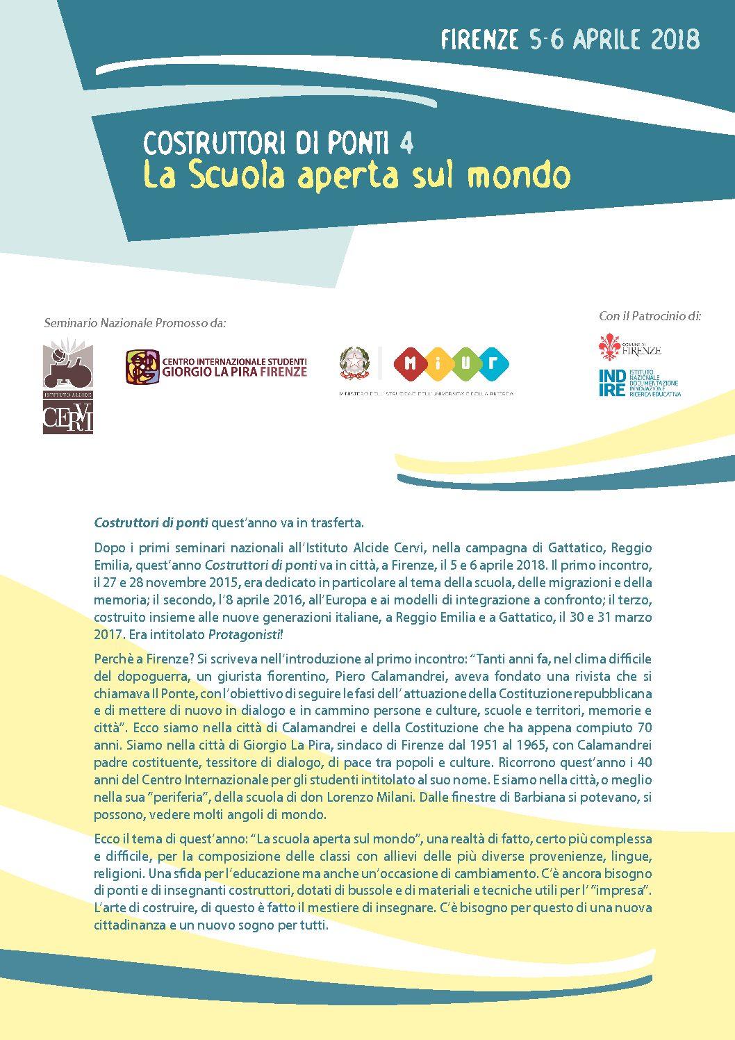 """""""Costruttori di ponti 4. La scuola aperta sul mondo"""" – 5-6 aprile, Firenze"""