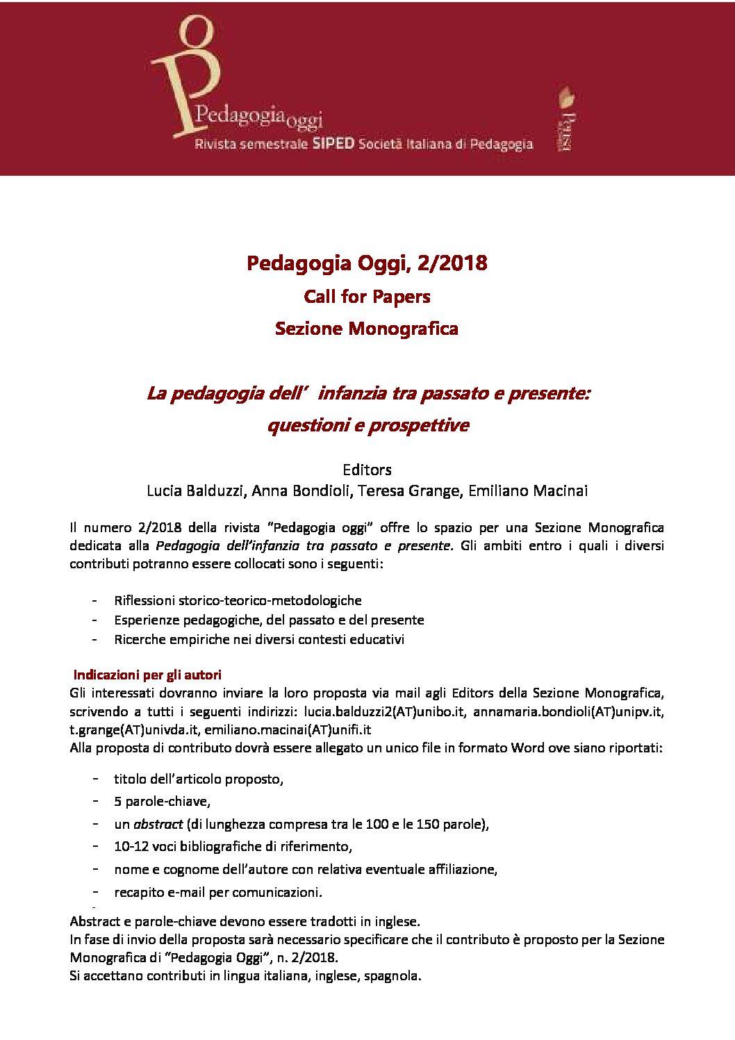 """Call for papers per la sezione monografica """"Pedagogia Oggi"""" 2/2018 – 15 aprile"""