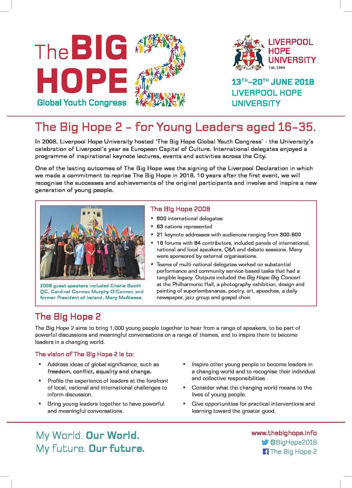 """Congresso """"The Big Hope 2. Global Youth Congress"""" – 13-20 giugno, Liverpool (Regno Unito)"""