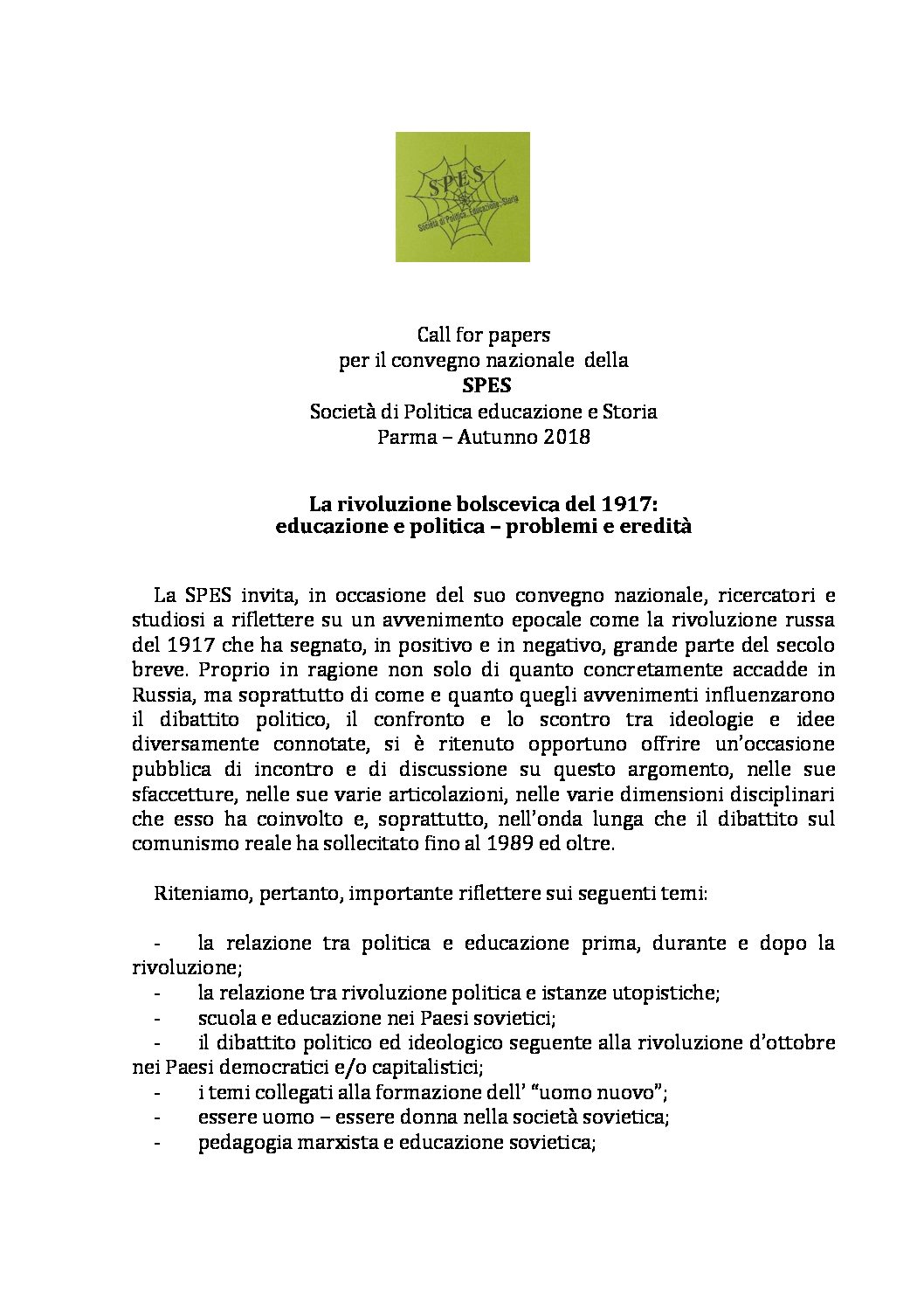 "Call for papers ""Convegno SPES"" – autunno 2018, Parma"