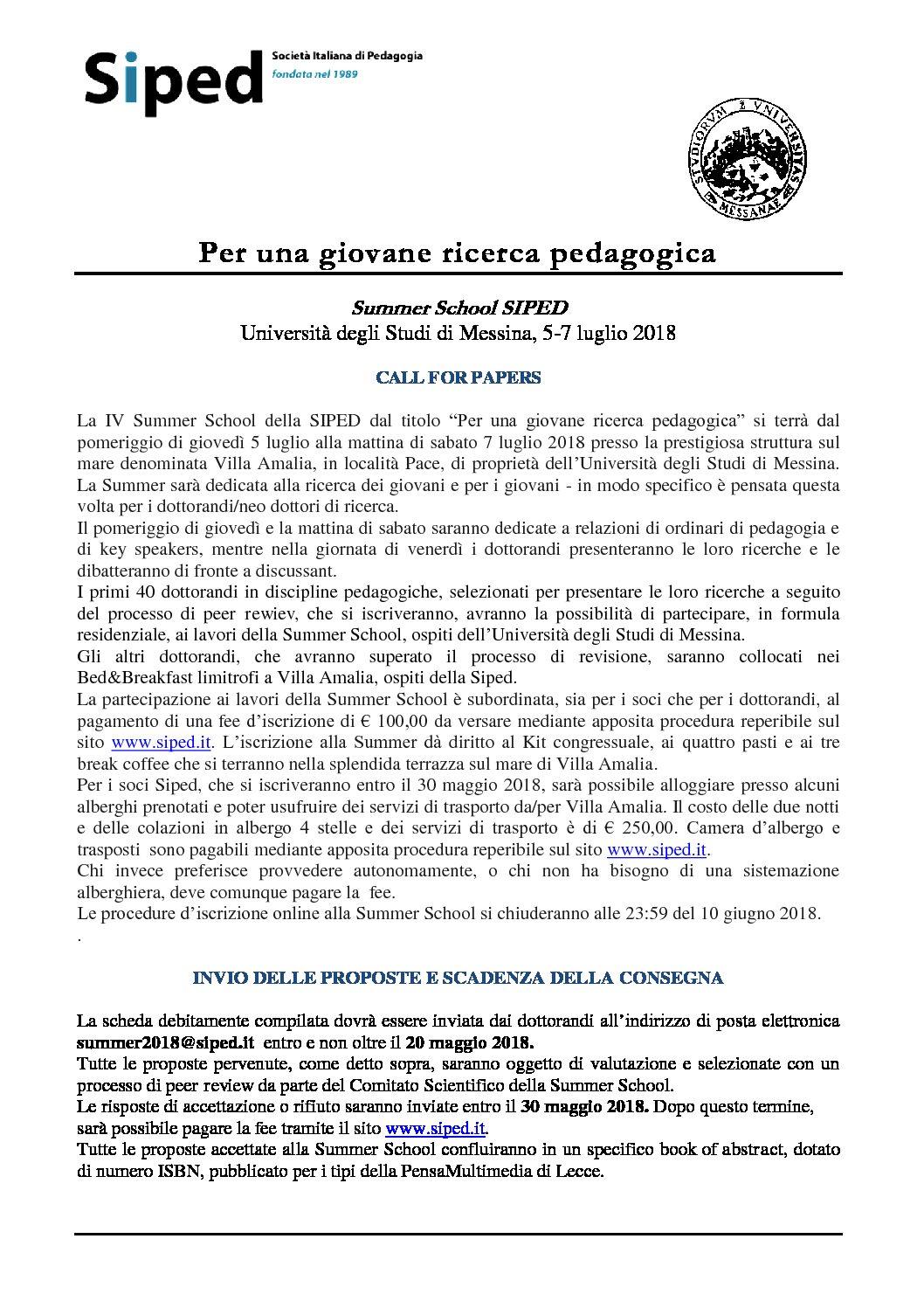 """Summer School SIPED """"Per una giovane ricerca pedagogica"""" – 5-7 luglio, Messina"""