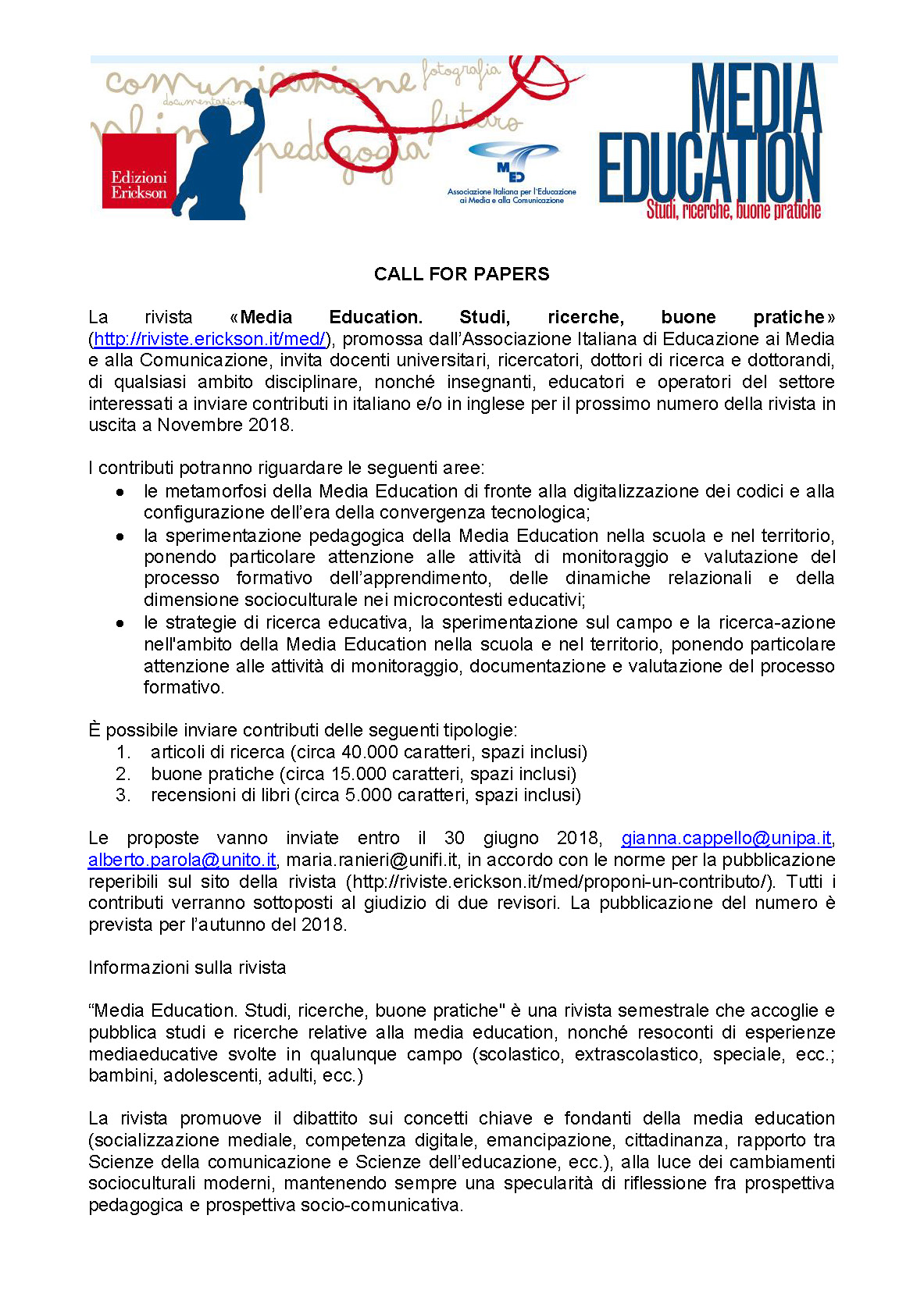 """Call for papers """"Media Education: Studi, Ricerche, Buone Pratiche"""" – 30 giugno"""