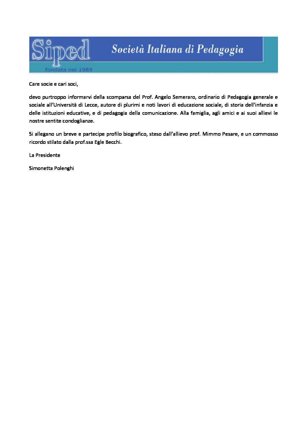 2018.05.16 – Scomparsa Prof. Angelo Semeraro