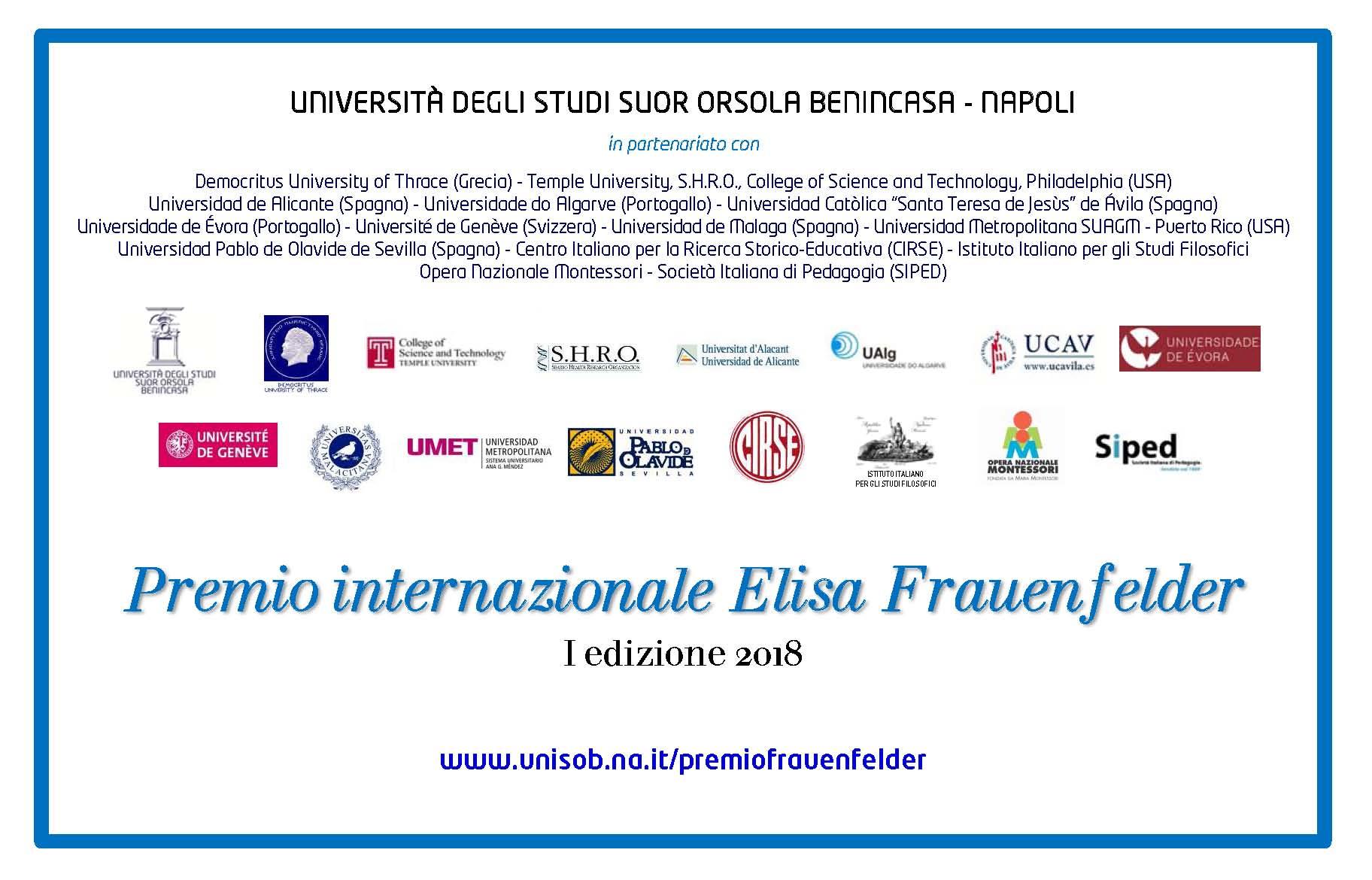 "Bando ""Premio Internazionale Elisa Frauenfelder"""