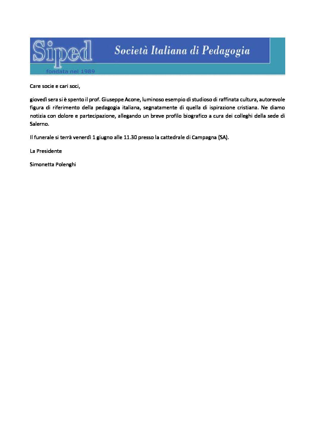 2018.05.31 – Scomparsa prof. Giuseppe Acone