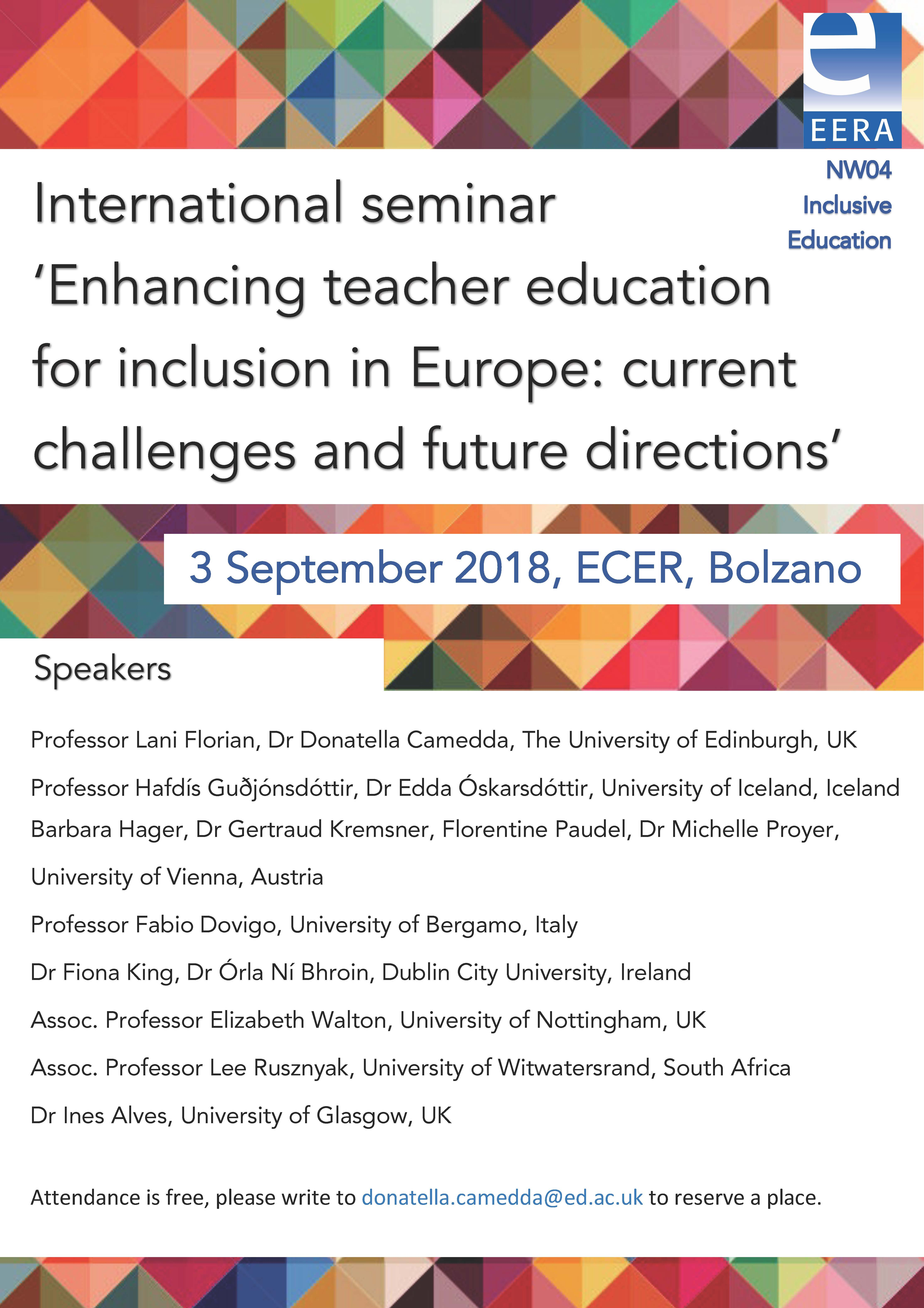 "Seminario Internazionale EERA ""Enhancing teacher education for Inclusion in Europe. Current challenges and future directions"" – 3 settembre, Bolzano"