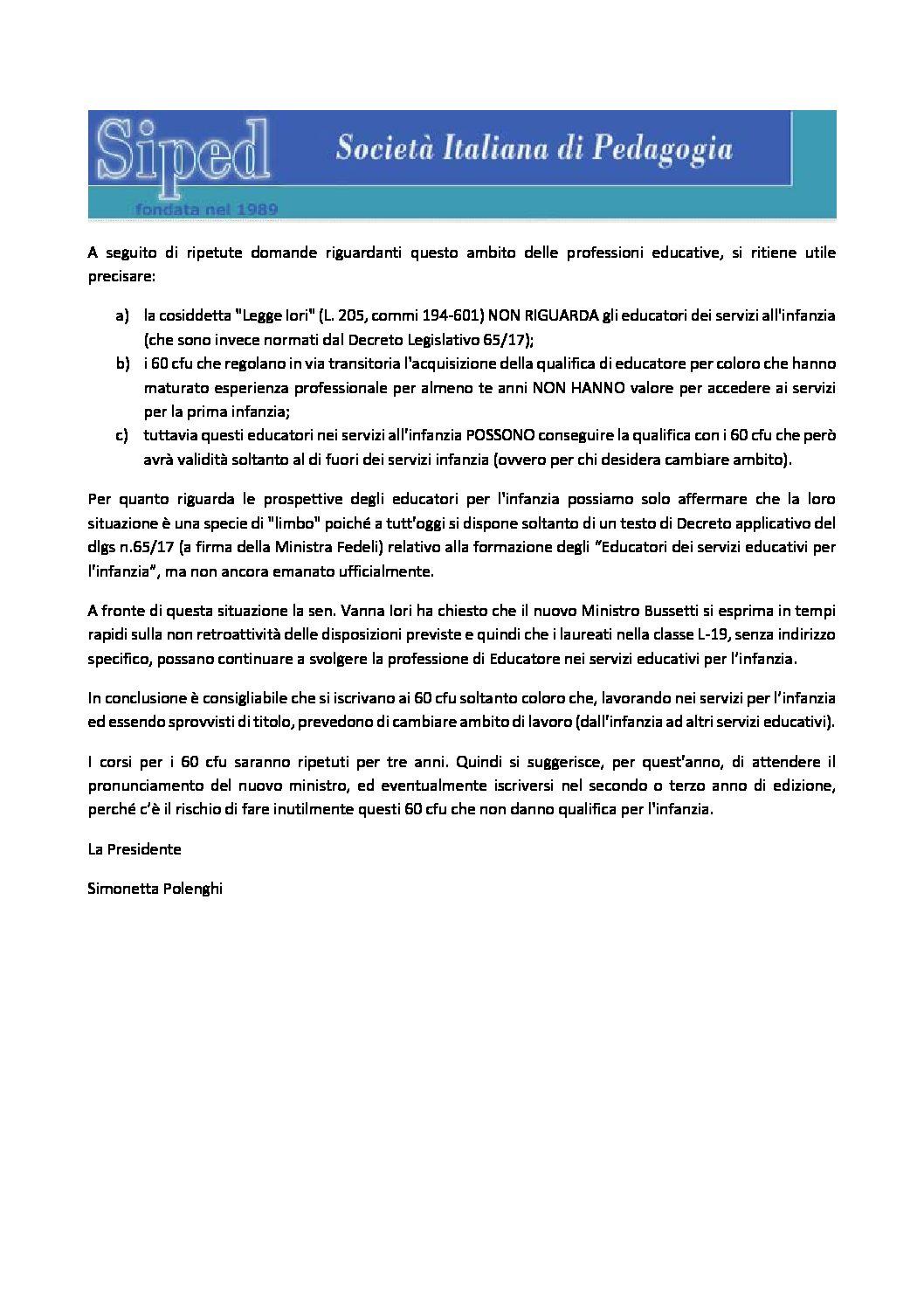 2018.07.12 – Chiarimento su educatori nei servizi per l'infanzia