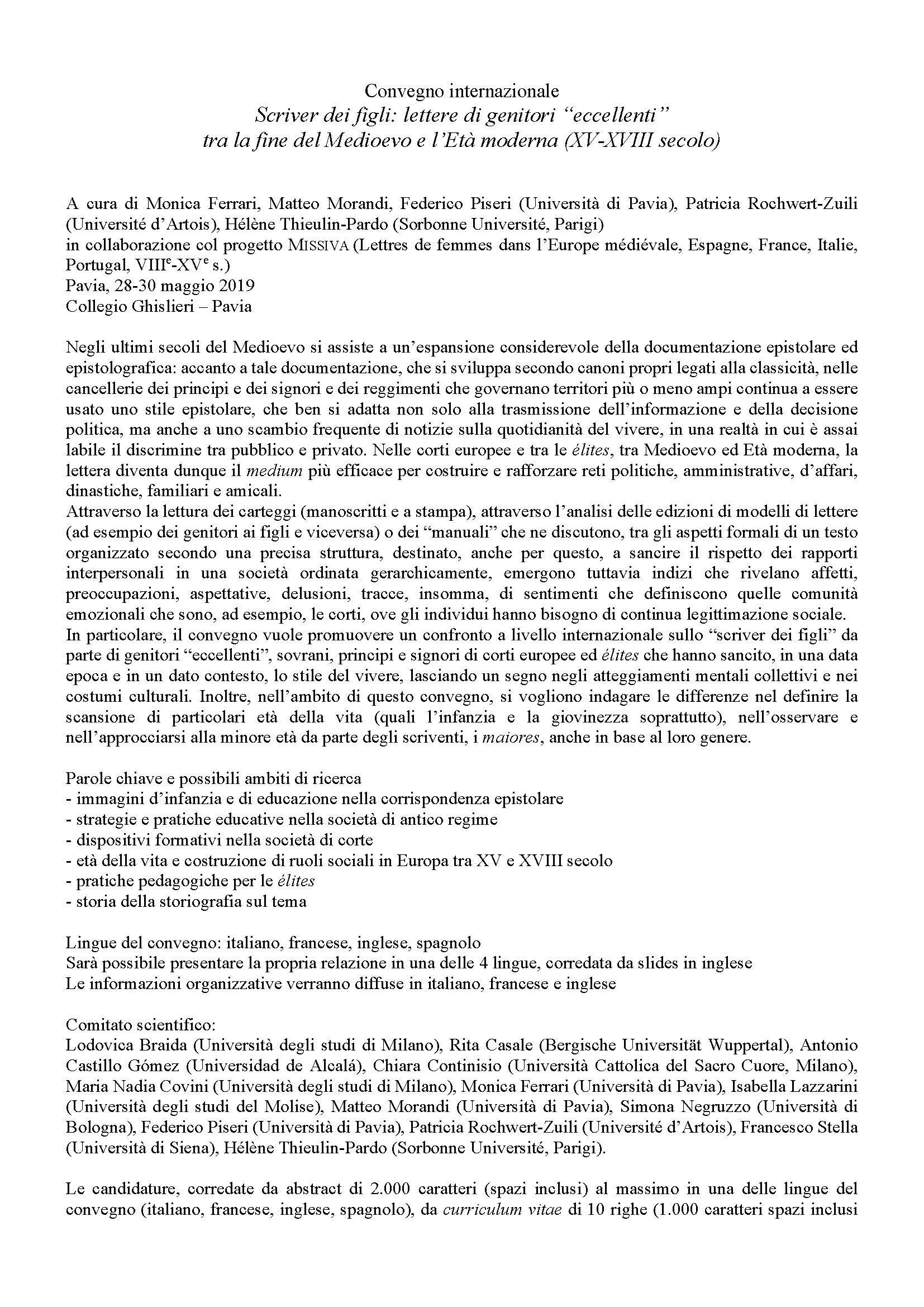 """Call for paper per il Convegno internazionale """"Scriver dei figli. Lettere di genitori 'eccellenti' tra la fine del Medioevo e l'Età moderna (XV-XVIII secolo)"""" – 28-30 maggio 2019, Pavia"""