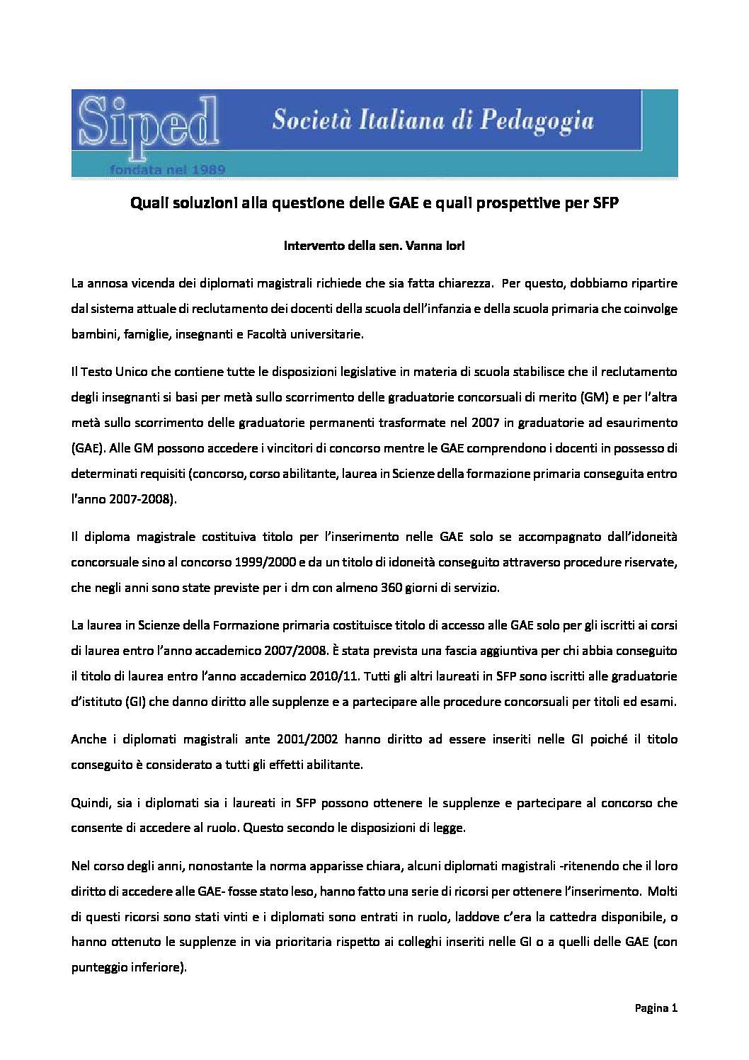 2018.07.20 – Intervento sen. Iori su GAE e SFP