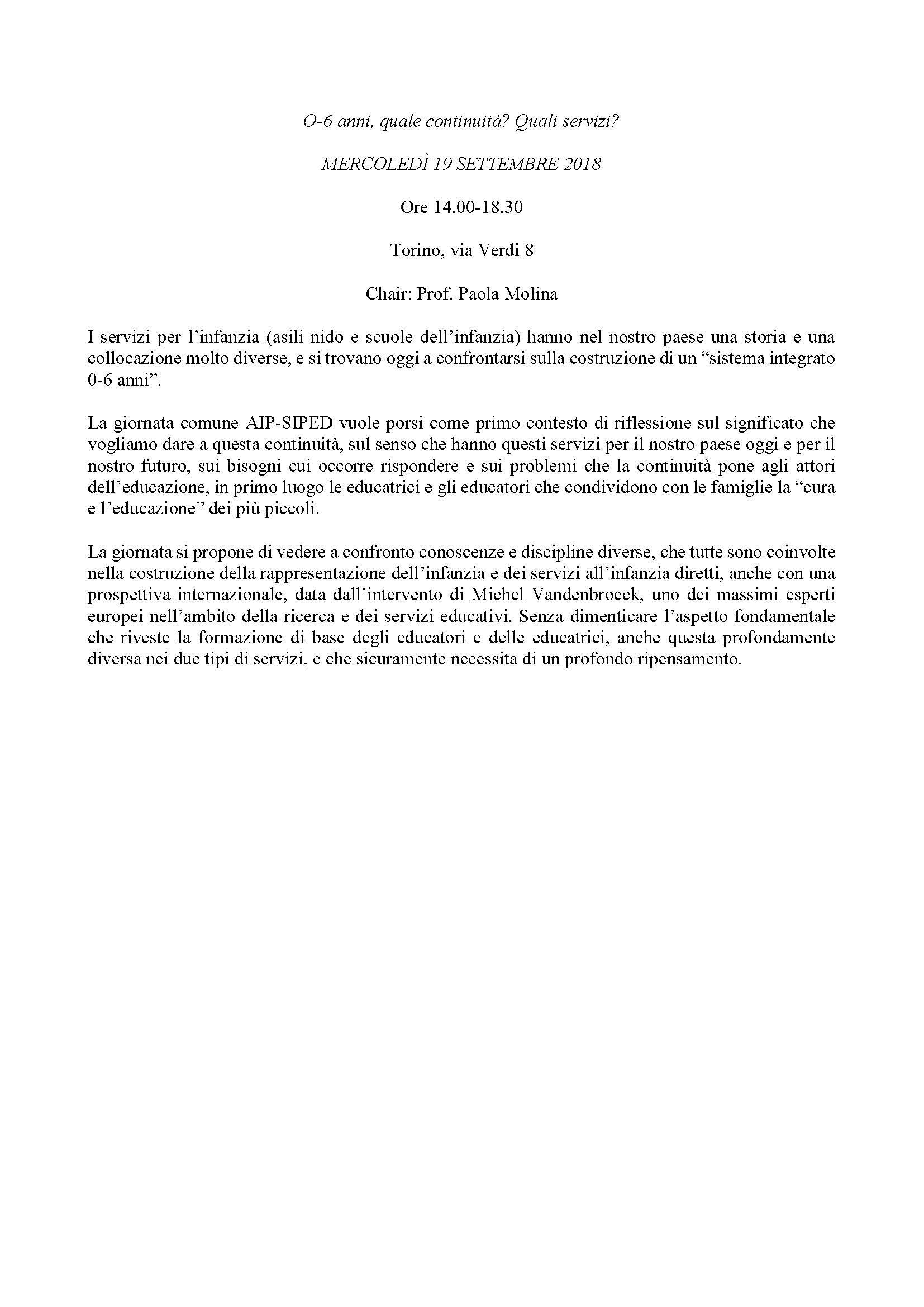 """Giornata di studio """"0-6 anni, quale continuità? Quali servizi?"""" – 19 settembre, Torino"""