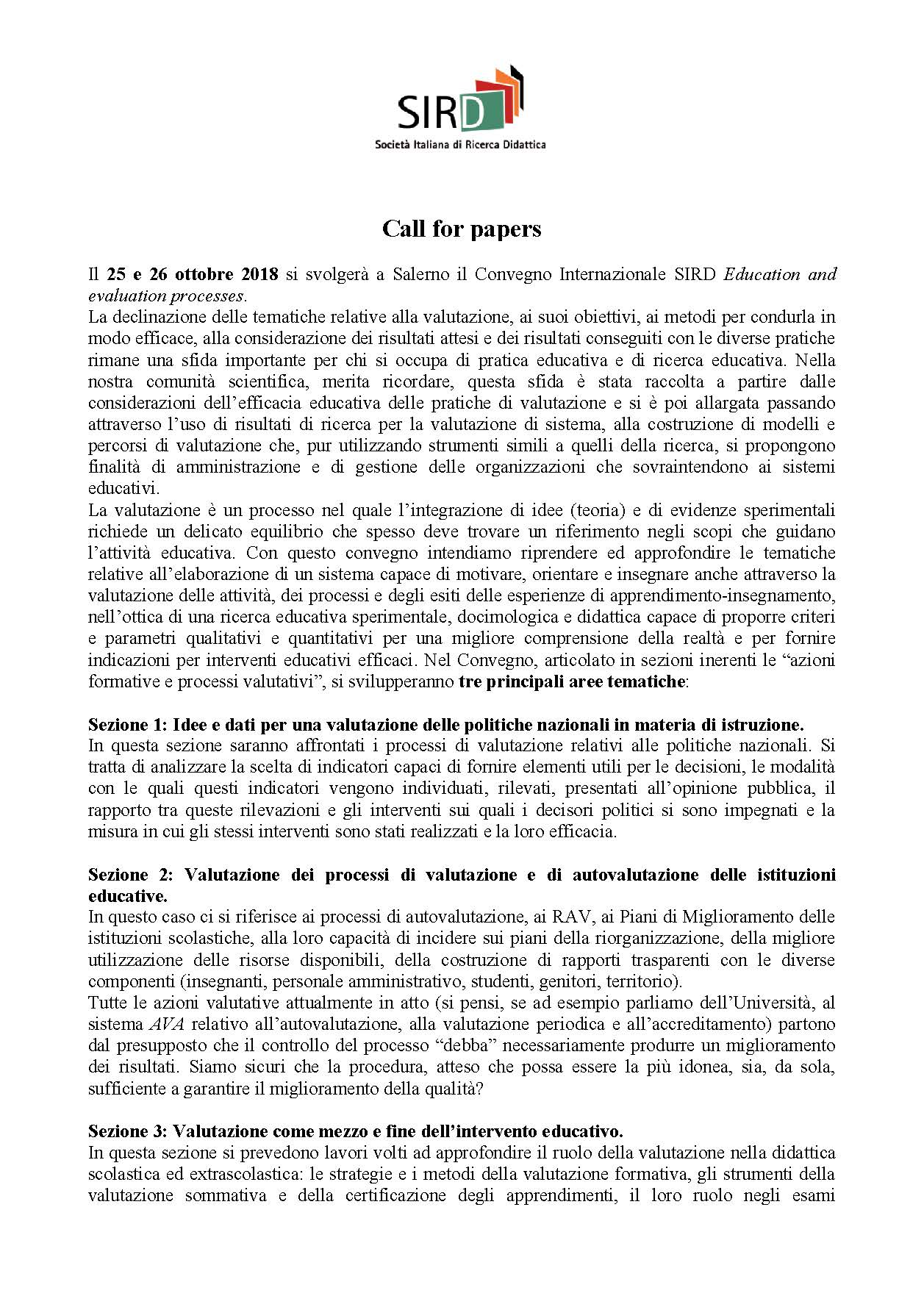 "Call for papers del convegno internazionale SIRD ""Education and evaluation processes"" – 25-26 ottobre, Salerno"