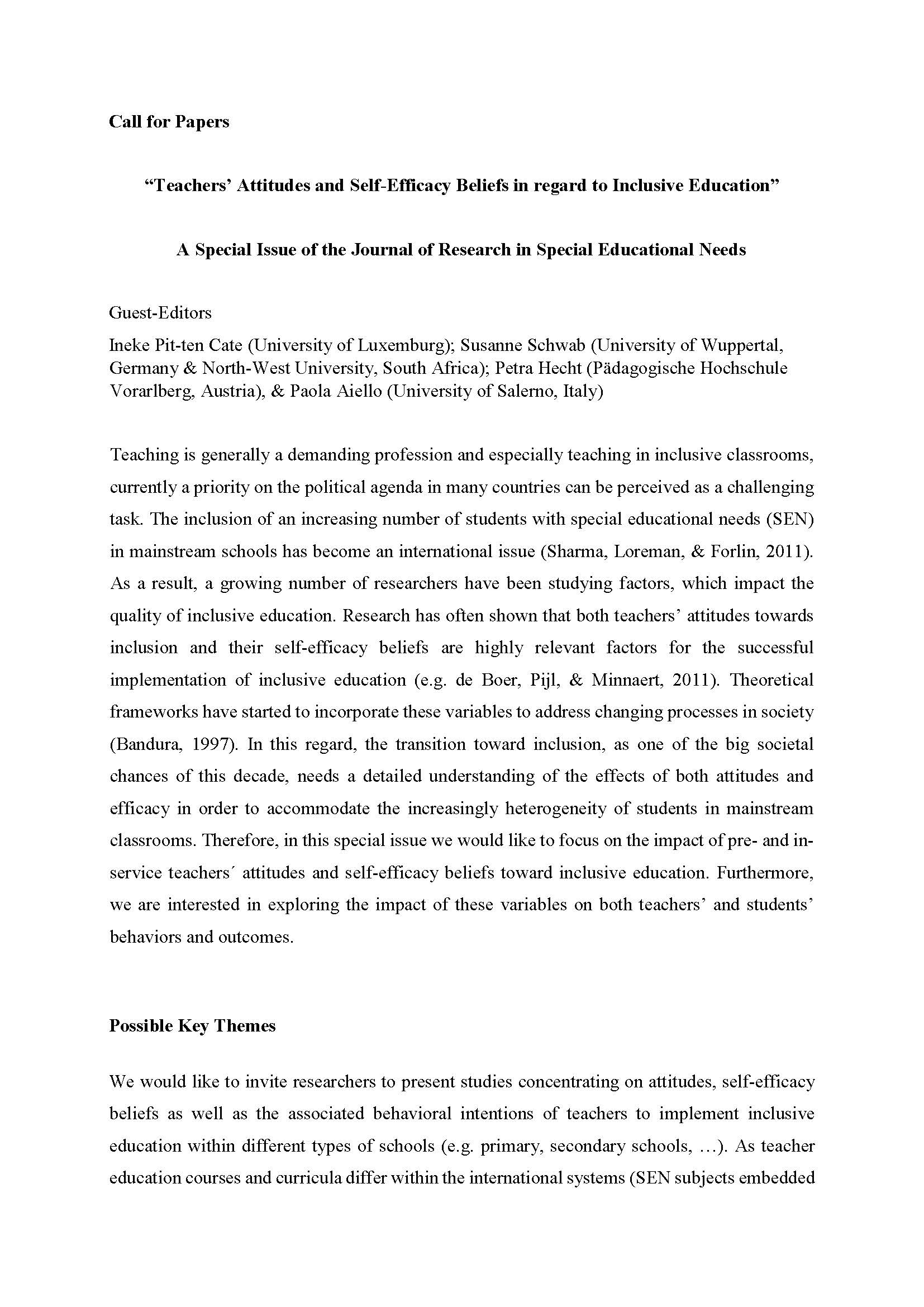 "Call for papers ""Journal of Research in Special Educational Needs"""