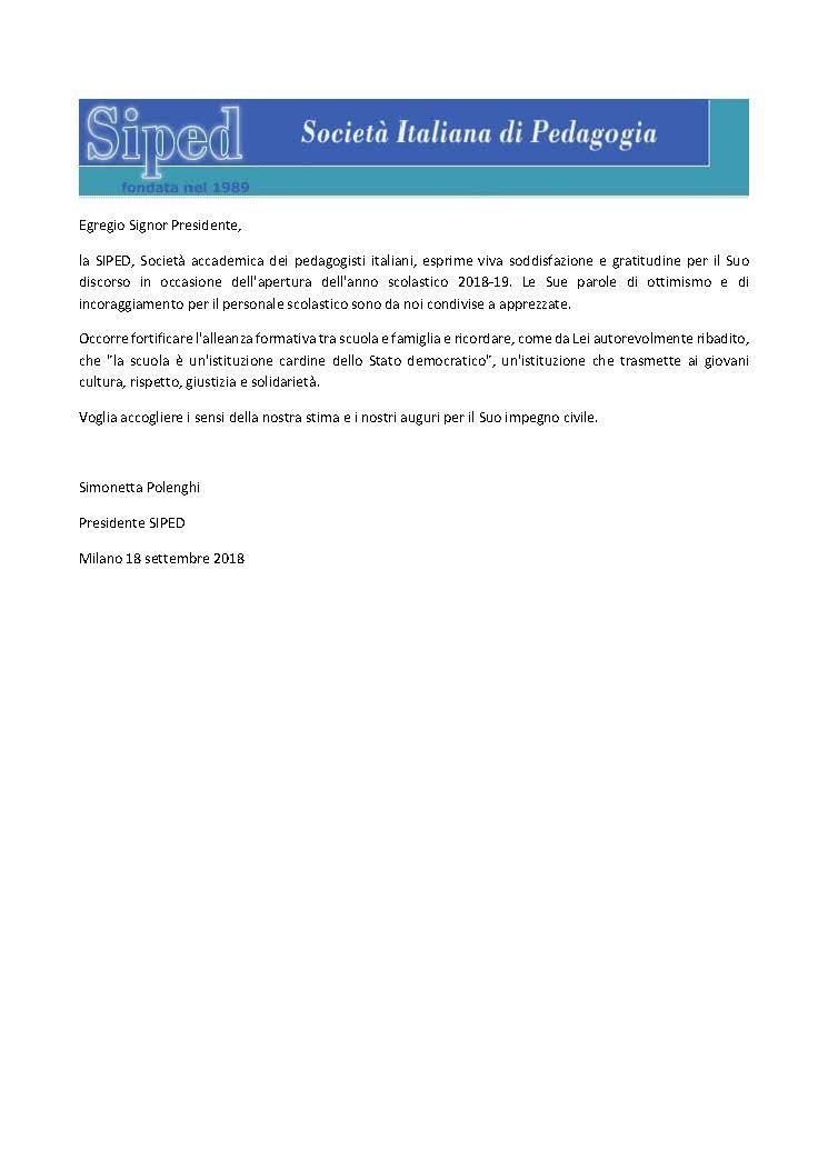 2018.09.18 – Messaggio al Presidente Mattarella