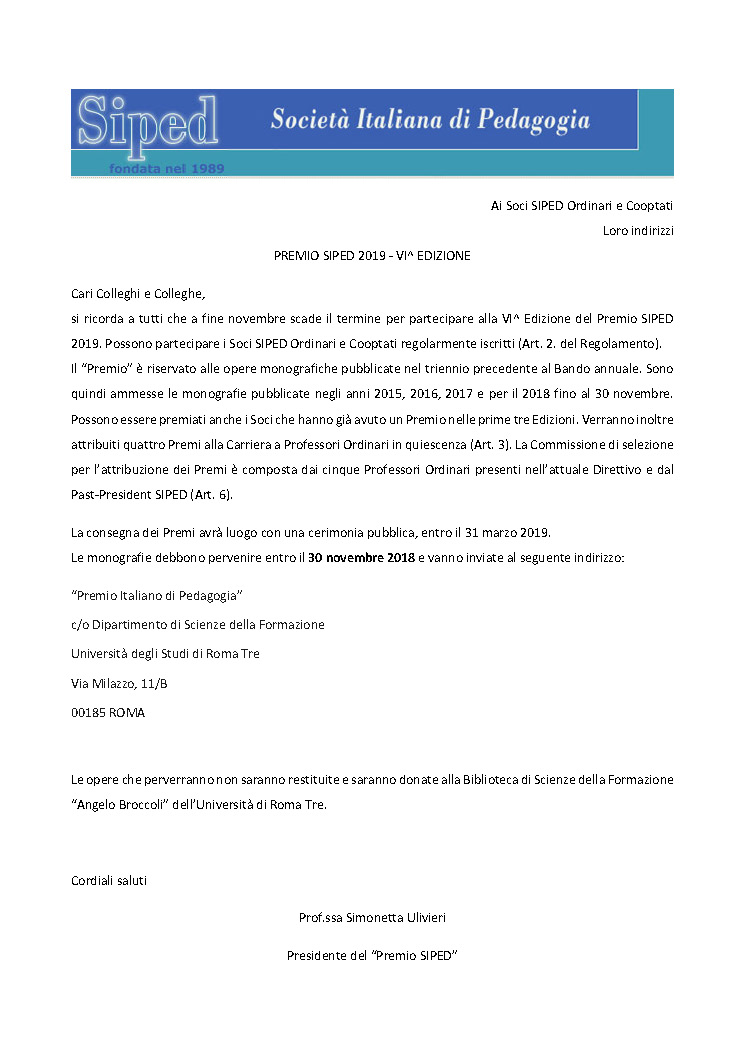 2018.10.09 – Premio Siped 2019
