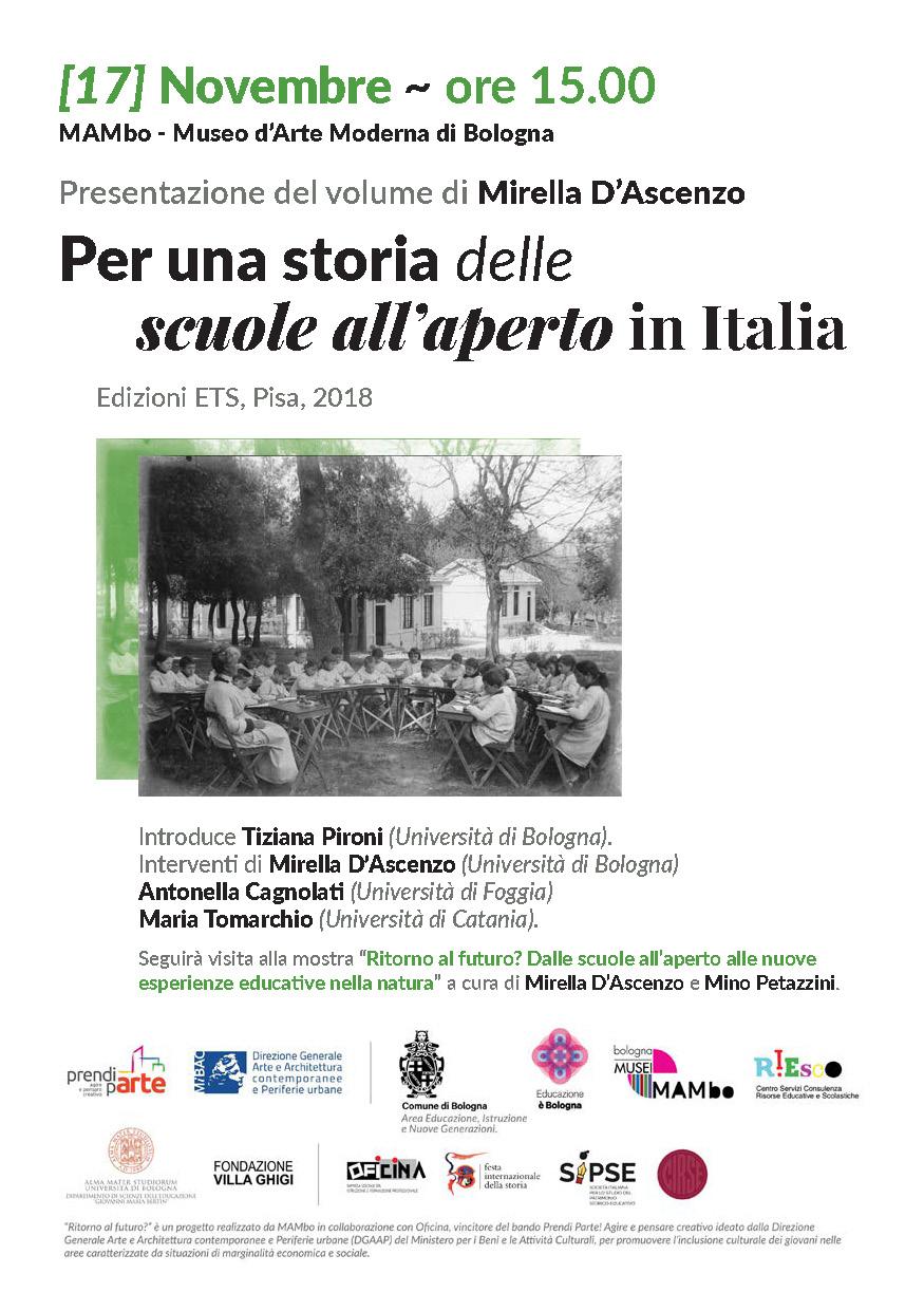 """Presentazione volume """"Per una storia delle scuole all'aperto in Italia"""" – 17 novembre, Bologna"""