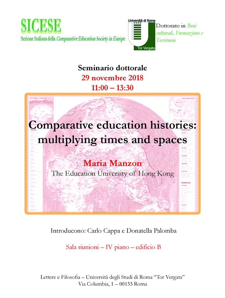 "Seminario dottorale ""Comparative education histories. Multiplying times and spaces"" – 29 novembre, Roma"