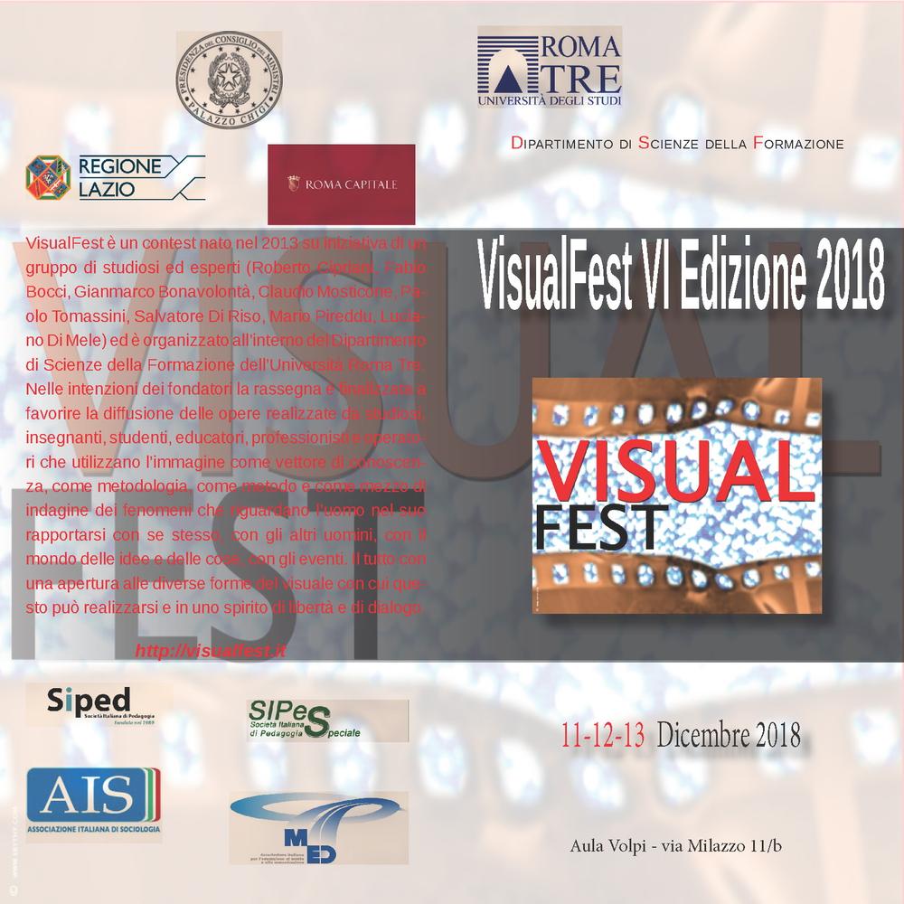 """Rassegna """"VisualFest 2018"""" – 11-13 dicembre, Roma"""