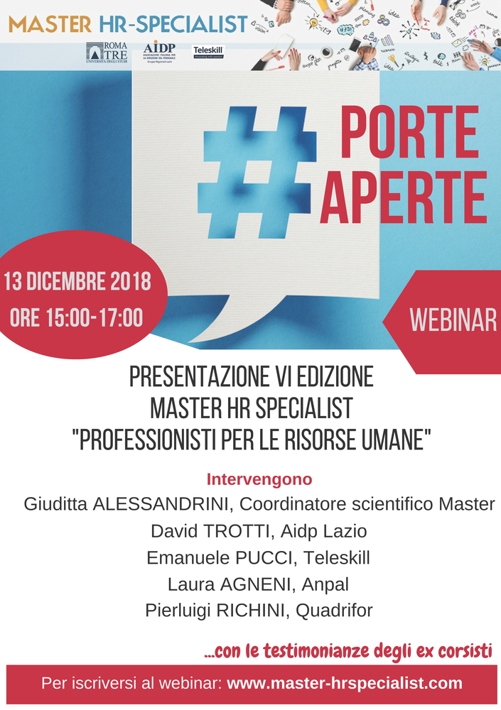 "Webinar ""Porte aperte al Master HR Specialist"" – 13 dicembre"