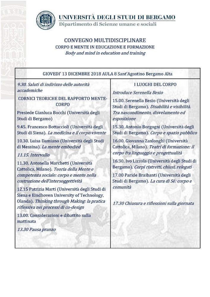 """Convegno """"Corpo e mente in educazione e formazione. Body and mind in education and training"""" – 13-14 dicembre, Bergamo"""