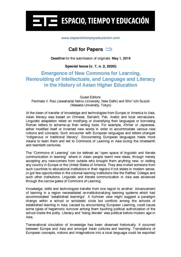 """Call for papers per la rivista """"Espacio, Tiempo y Educación"""" – 1 maggio 2019"""