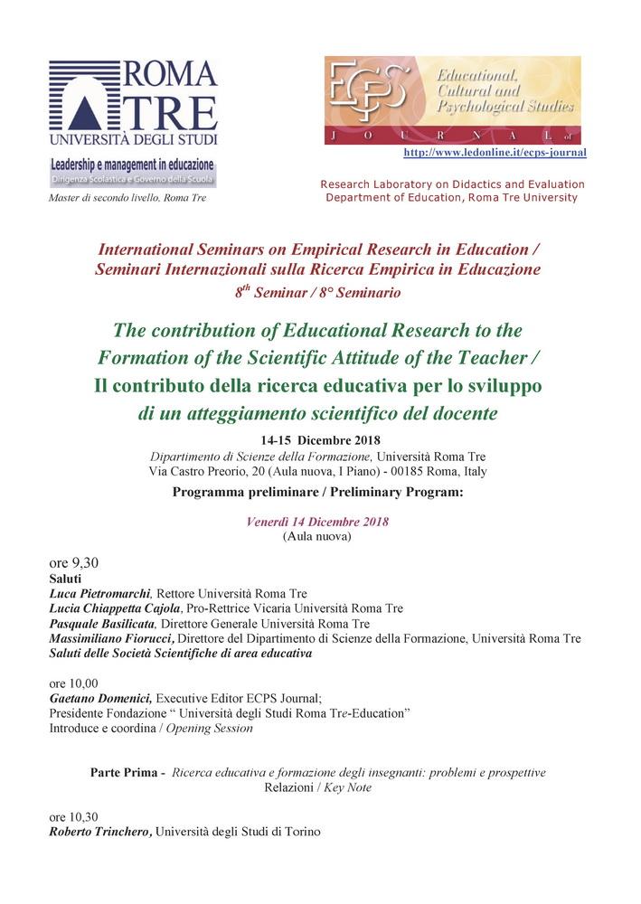 """Seminari Internazionali sulla Ricerca Empirica in Educazione """"Il contributo della ricerca educativa per lo sviluppo di un atteggiamento scientifico del docente"""" – 14-15 Dicembre, Roma"""