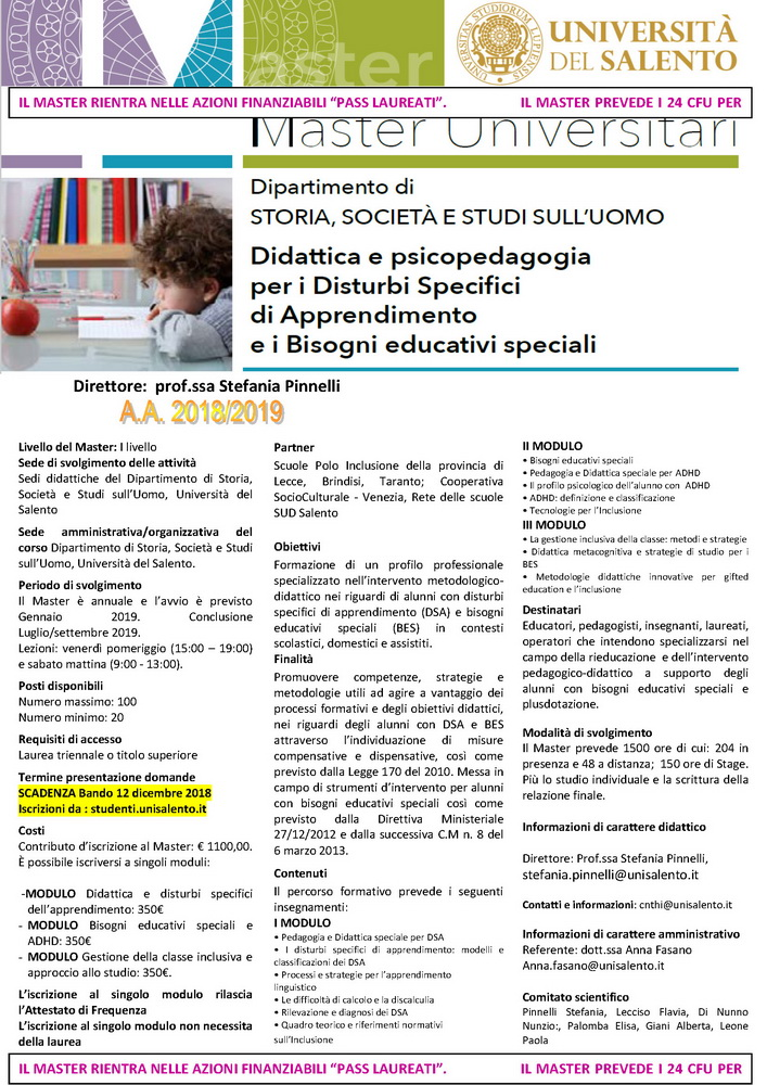 """Master I livello in """"Didattica e psicopedagogia per i Disturbi Specifici di Apprendimento e i Bisogni educativi speciali"""" – 12 dicembre, Lecce"""