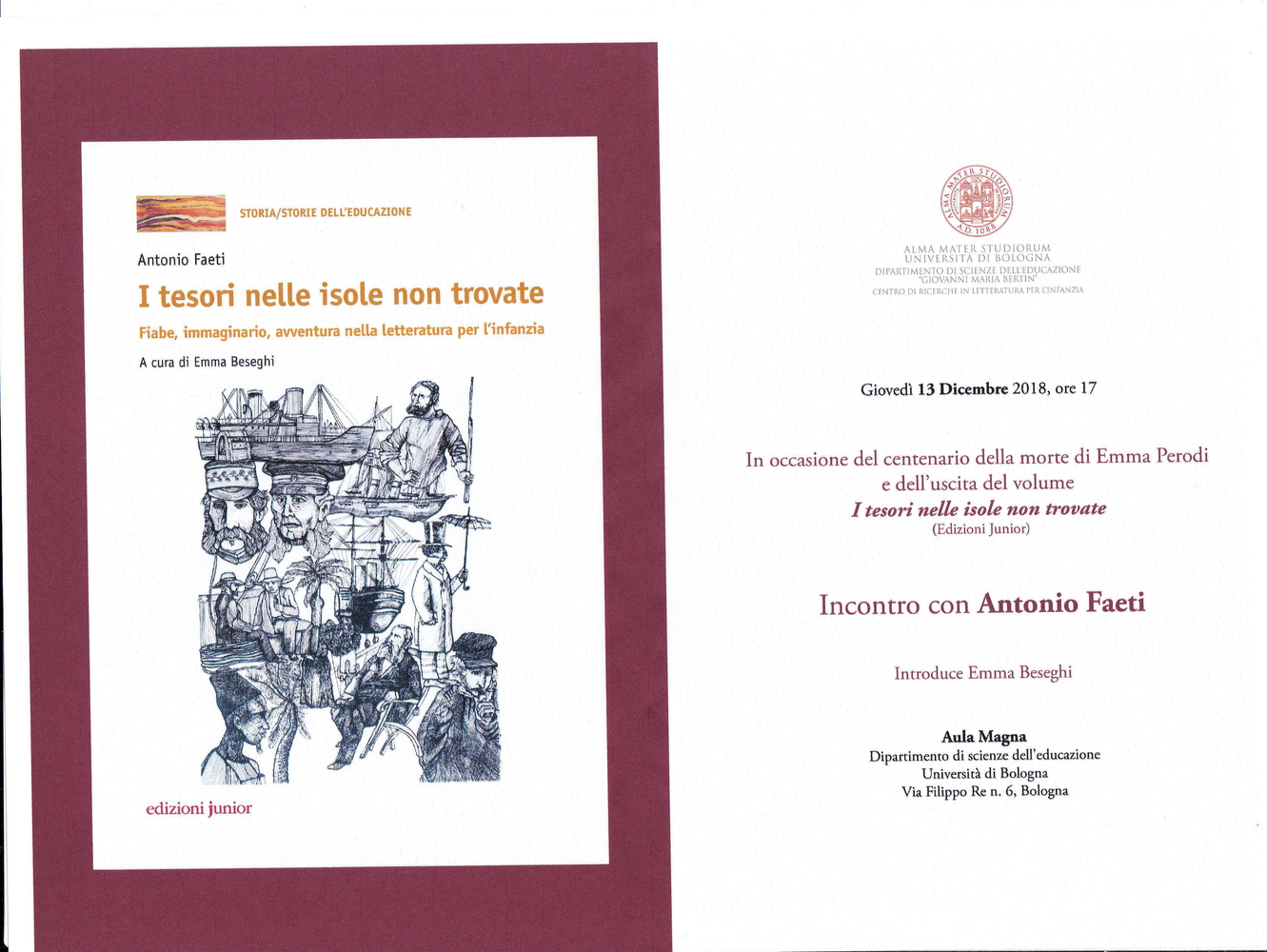 """Presentazione volume """"I tesori nelle isole non trovate"""" e incontro con Antonio Faeti a cento anni dalla morte di Emma Perodi – 13 dicembre, Bologna"""