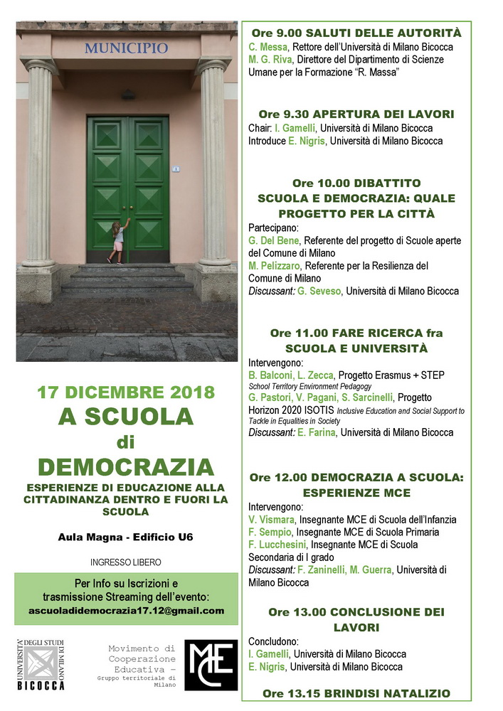 """Convegno """"A scuola di democrazia. Esperienze di educazione alla cittadinanza dentro e fuori la scuola"""" – 17 dicembre, Milano"""