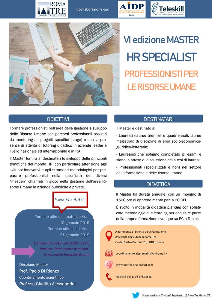 """Presentazione Master HR Specialist """"Professionisti per le Risorse Umane"""" – 13 dicembre"""