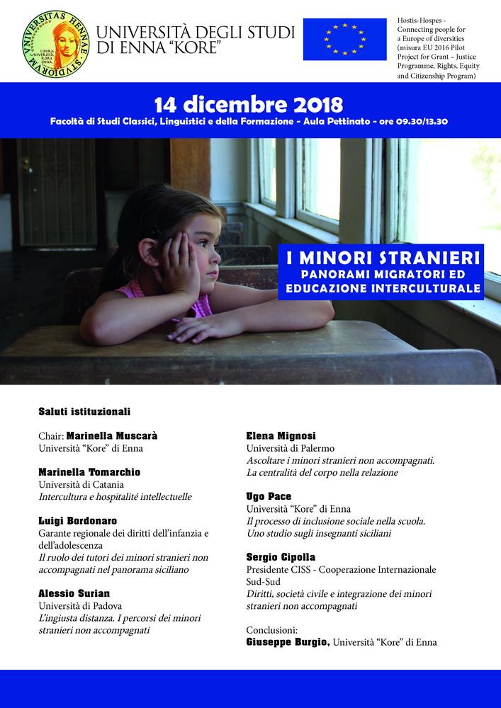 """Convegno """"Minori stranieri. Panorami migratori ed educazione interculturale"""" – 14 dicembre, Enna"""