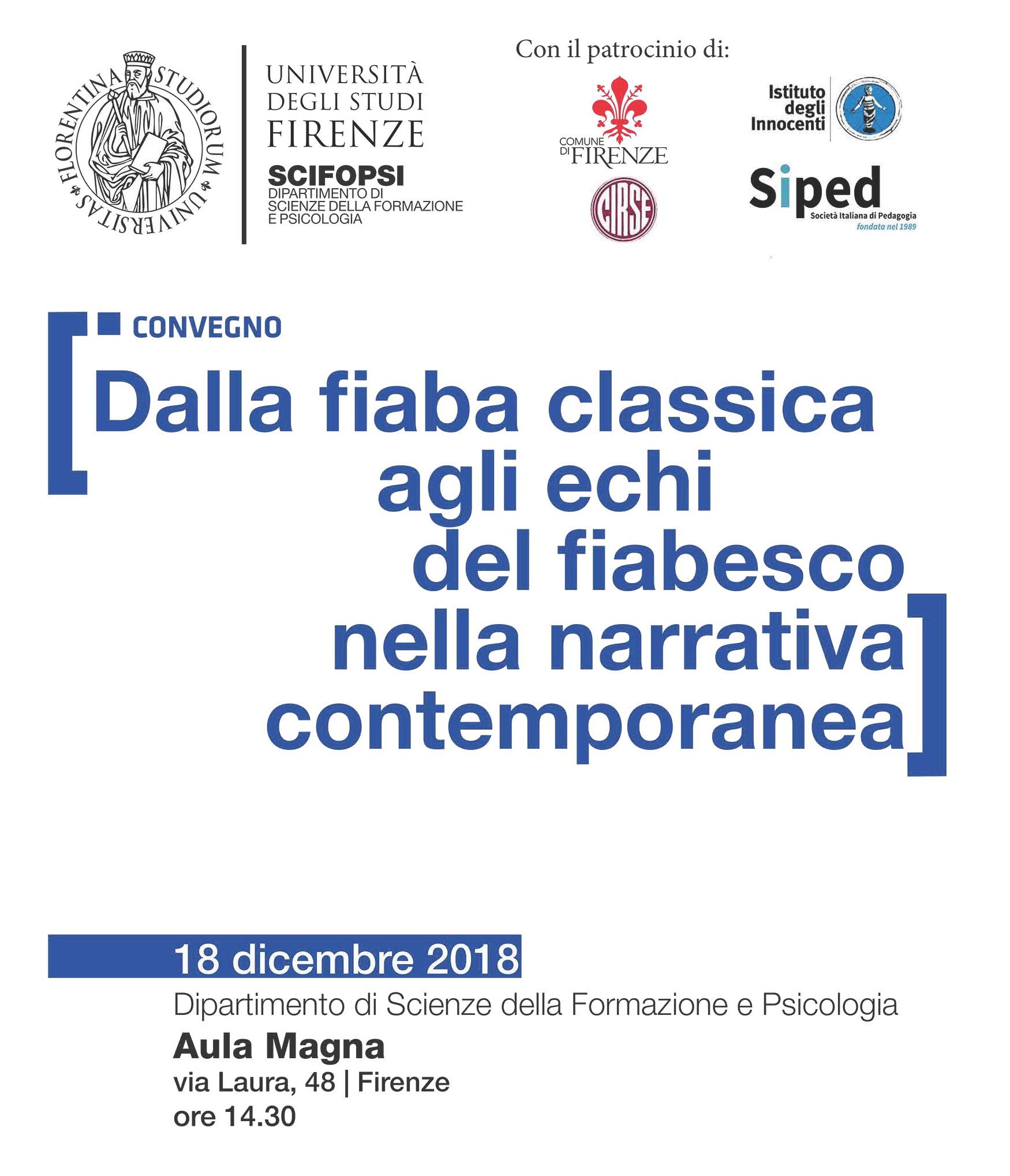 """Convegno """"Dalla fiaba classica agli echi del fiabesco nella narrativa contemporanea"""" – 18 dicembre, Firenze"""