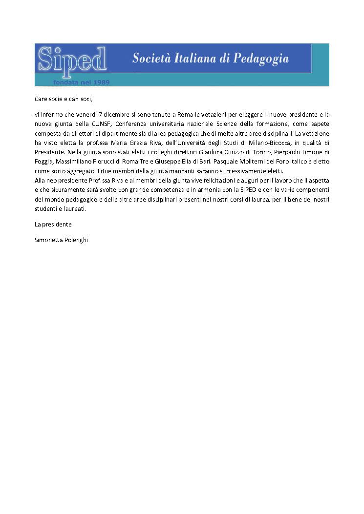 2018.12.08 – Nuova Presidente e giunta CUNSF
