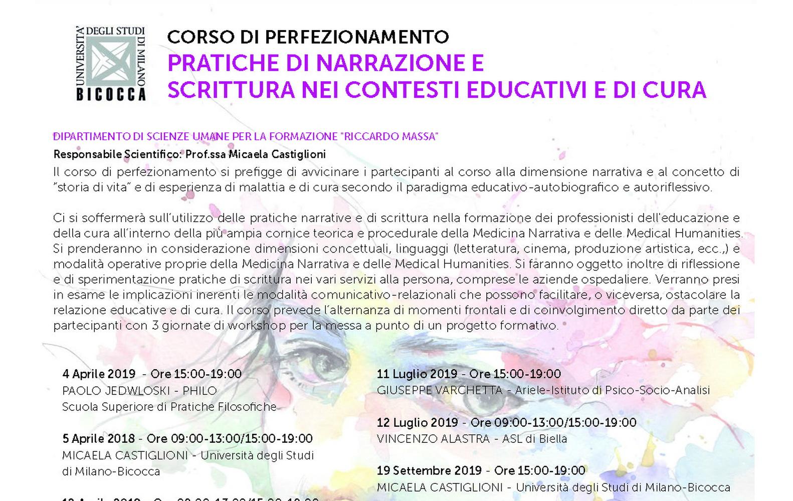 """Corso di Perfezionamento """"Pratiche di narrazione e scrittura nei contesti di cura"""" – 4 aprile, Milano"""
