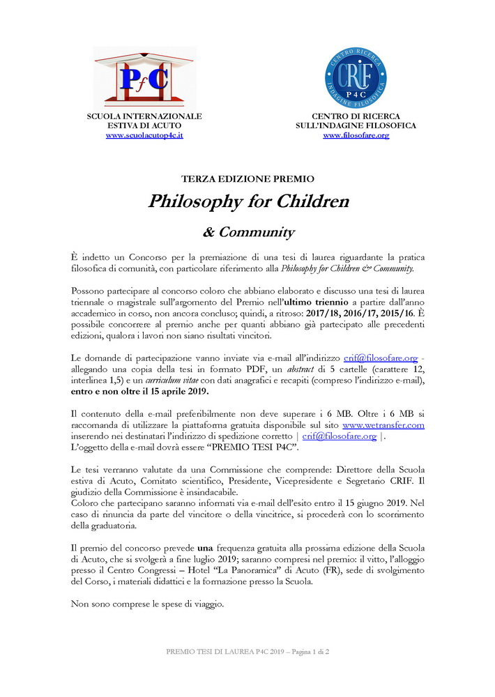 "Premio tesi di laurea in ""Philosophy for Children"" – 15 aprile"