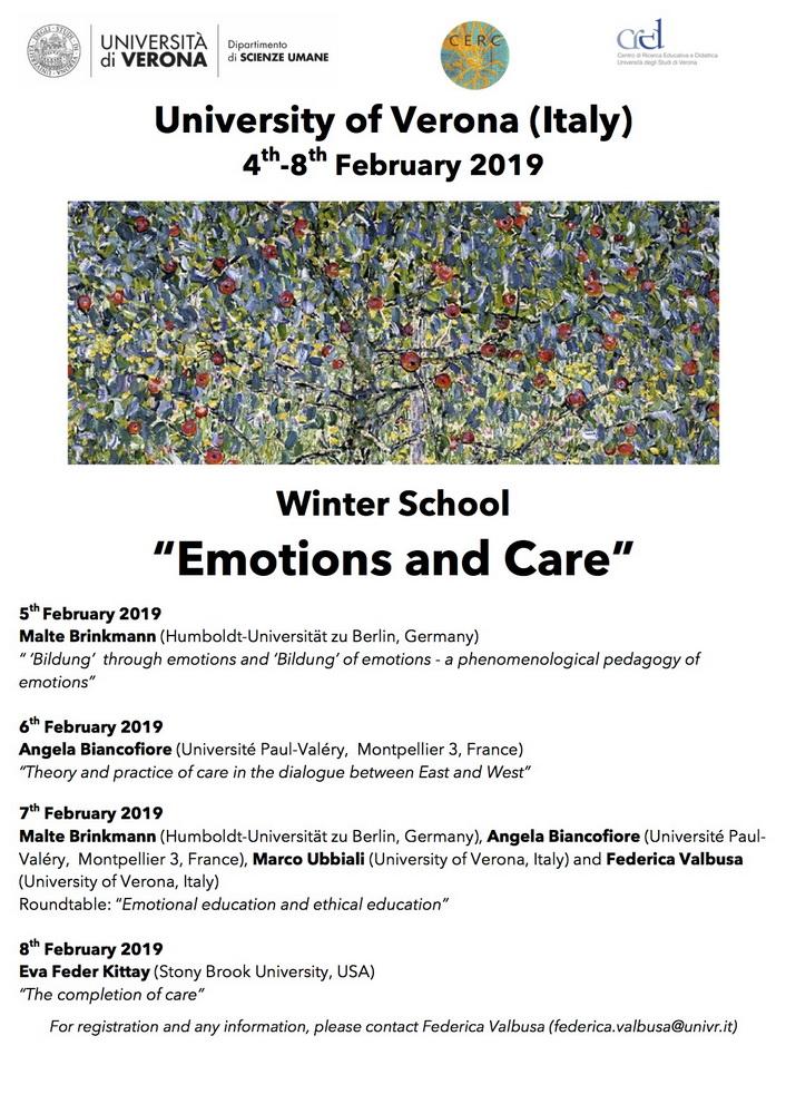 """Winter School """"Emotions and care"""" – 4-8 febbraio, Verona"""
