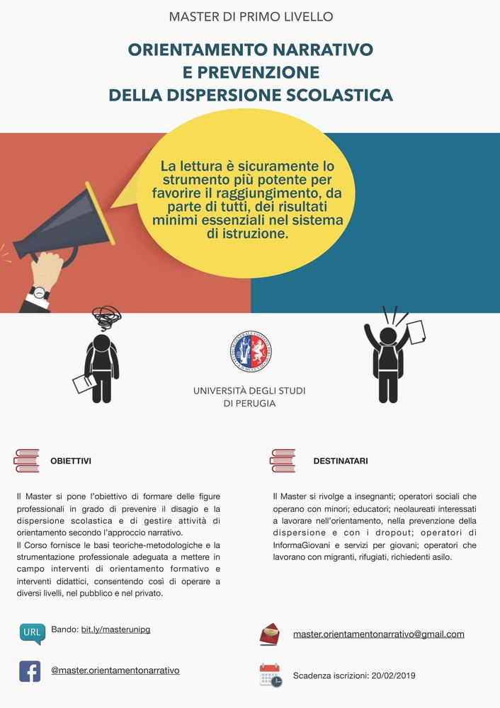 """Master di I livello in """"Orientamento narrativo e prevenzione della dispersione scolastica"""" – 20 febbraio, Perugia"""