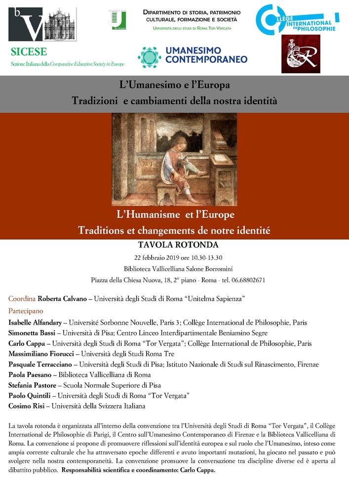 """Tavola rotonda """"L'Umanesimo e l'Europa. Tradizioni e cambiamenti della nostra identità"""" – 22 febbraio, Roma"""