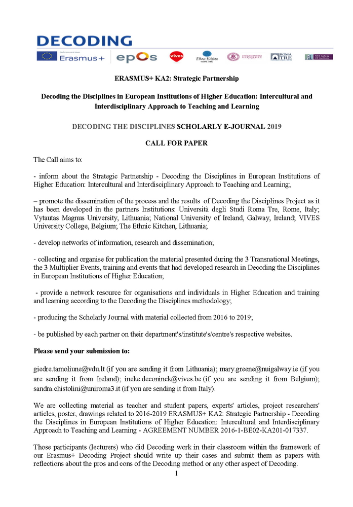 """Call for paper """"Decoding the Disciplines Scholarly E-Journal 2019"""" – 15 febbraio"""