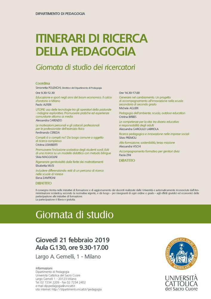 """Giornata di studio """"Itinerari di ricerca della pedagogia. Giornata di studio dei ricercatori"""" – 21 febbraio, Milano"""