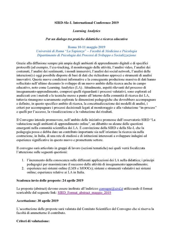 """Convegno SIRD-SIe-L """"Learning Analytics. Per un dialogo tra pratiche didattiche e ricerca educativa"""" 10-11 maggio, Roma"""
