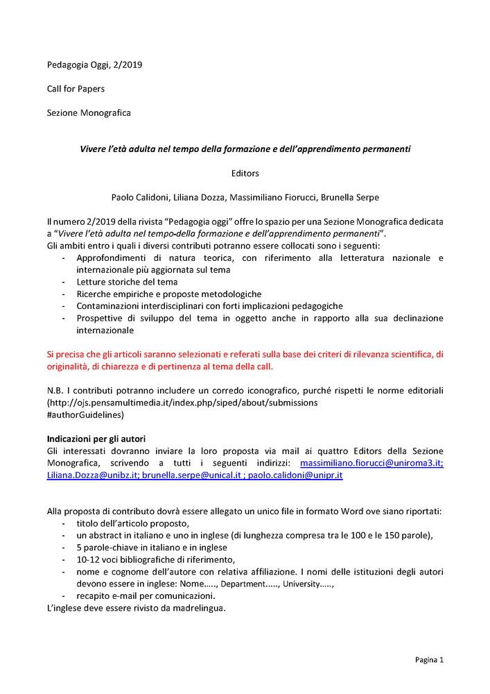 2019-02-07 – Call Pedagogia Oggi 2019/2