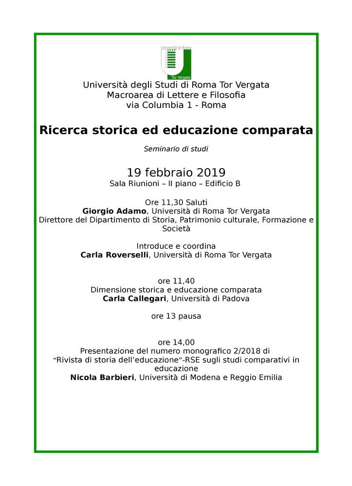 """Seminario """"Ricerca storica ed educazione comparata"""" – 19 febbraio, Roma"""