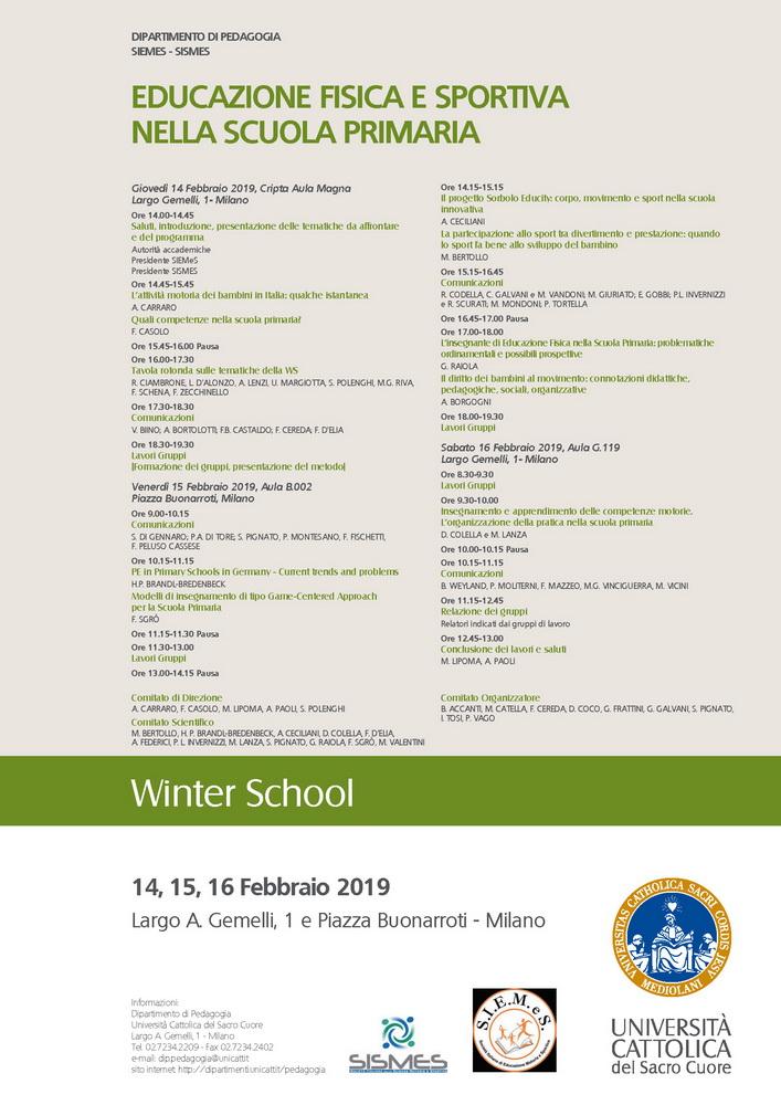 """Winter school """"L'educazione fisica e sportiva nella scuola primaria"""" – 14-16 febbraio, Milano"""