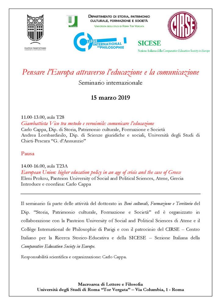"""Seminario internazionale """"Pensare l'Europa attraverso l'educazione e la comunicazione"""" – 15 marzo, Roma"""